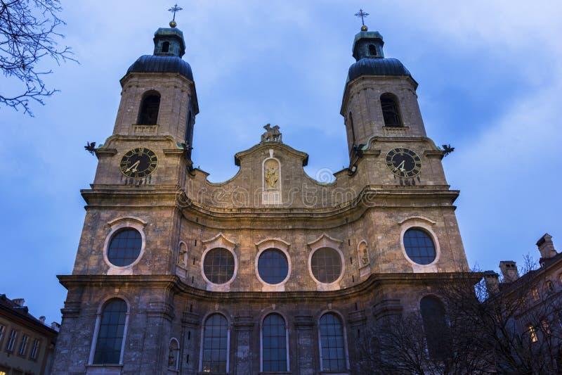 圣詹姆斯大教堂在因斯布鲁克在奥地利 库存图片