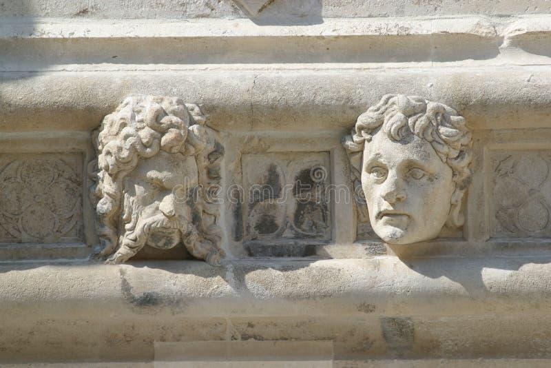 圣詹姆斯大教堂的低音安心建筑细节在希贝尼克 免版税图库摄影