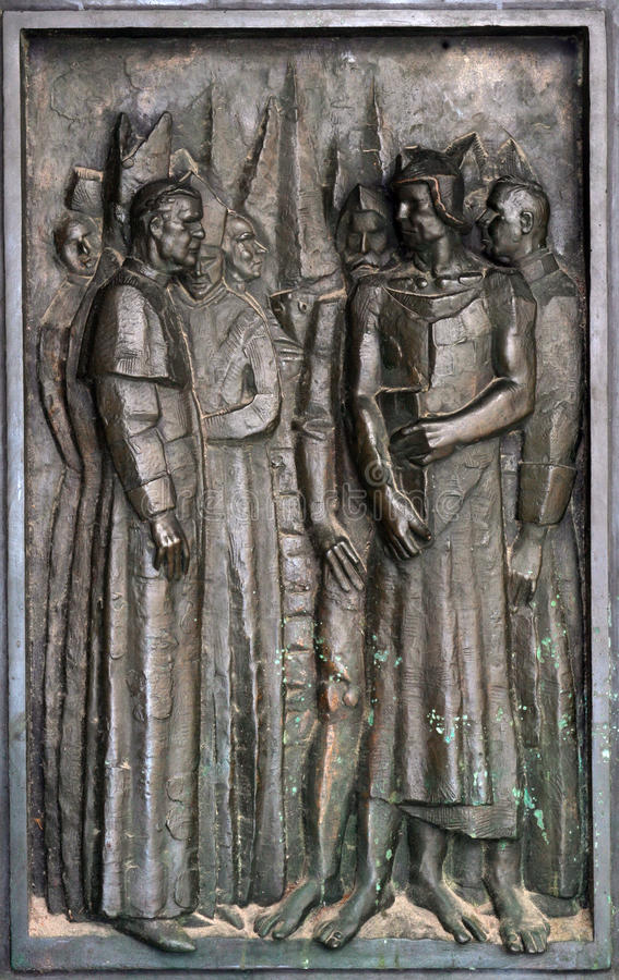 圣詹姆斯大教堂的门的细节在希贝尼克,克罗地亚 免版税库存图片