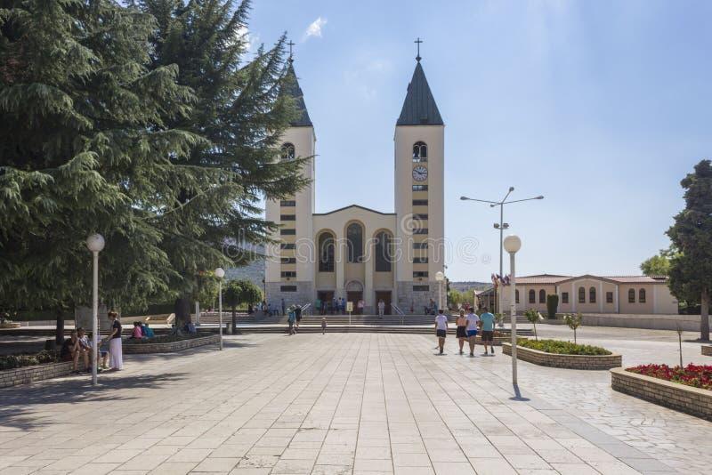 圣詹姆斯教会前面看法在Medjugorje 库存照片