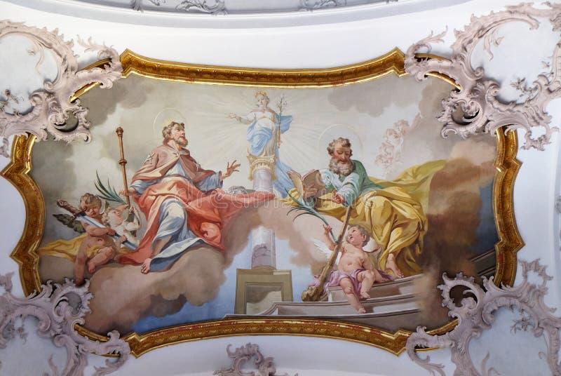 圣詹姆斯长辈和圣徒Judas Thaddeus 库存图片