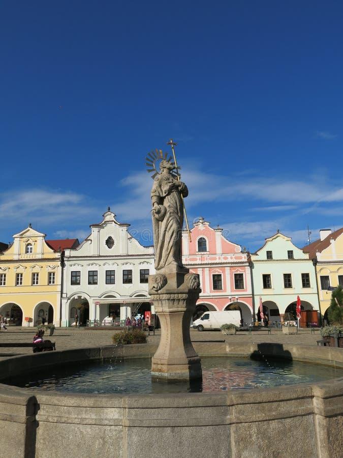 圣詹姆斯雕象在Pelhrimov 库存照片