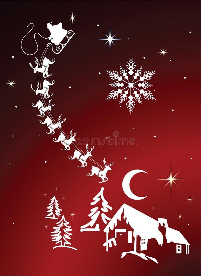 圣诞前夕晚上驯鹿圣诞老人天空 皇族释放例证
