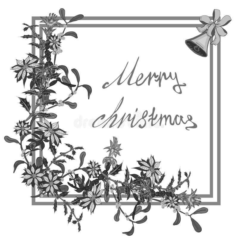 圣诞卡片、横幅与一品红花花圈,槲寄生与响铃和弓 向量例证