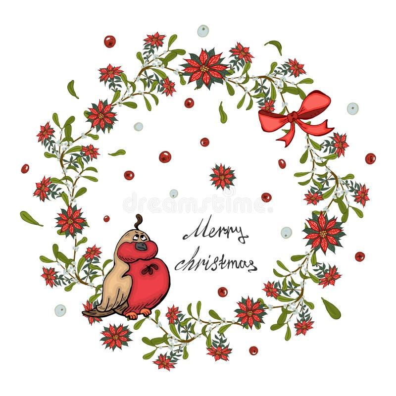 圣诞卡片、横幅与红色一品红花花圈,槲寄生与响铃和弓 库存例证