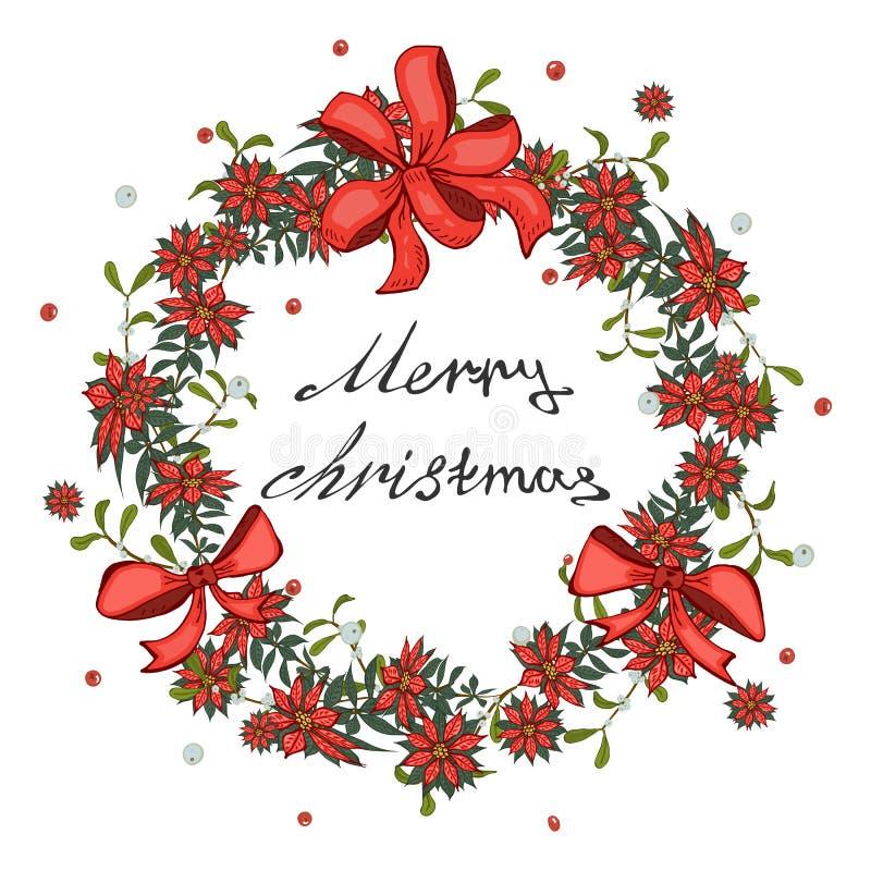 圣诞卡片、横幅与红色一品红花花圈,槲寄生与响铃和弓 皇族释放例证