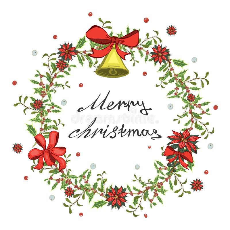 圣诞卡片、横幅与红色一品红花花圈,槲寄生与响铃和弓 向量例证