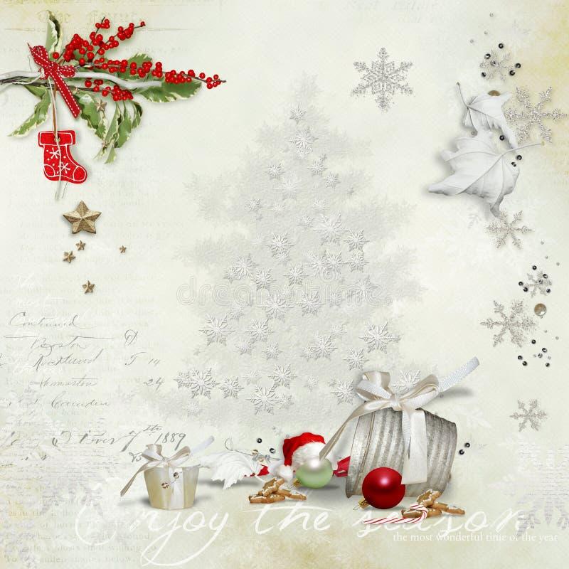 圣诞卡片与一个装饰的绿色分支和玩具和与文本的一个空的地方 免版税库存图片