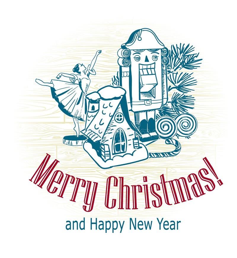 圣诞卡片传染媒介减速火箭的样式拉长的剪影树玩具胡桃钳芭蕾舞女演员房子雪 库存图片
