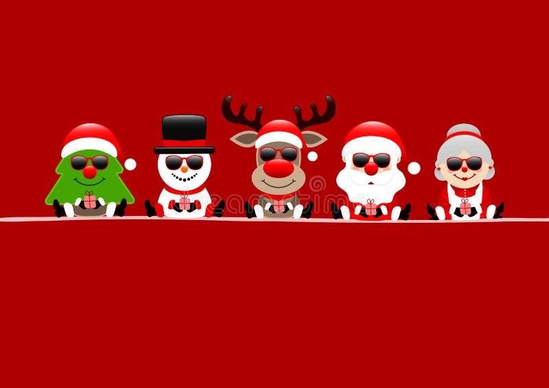 圣诞卡片树雪人驯鹿圣诞老人和妻子太阳镜红色 库存例证