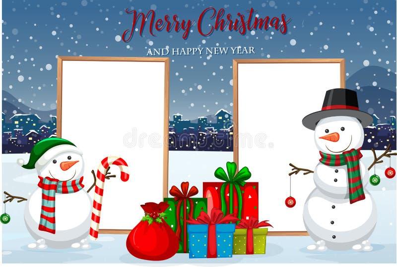 圣诞卡片模板 皇族释放例证