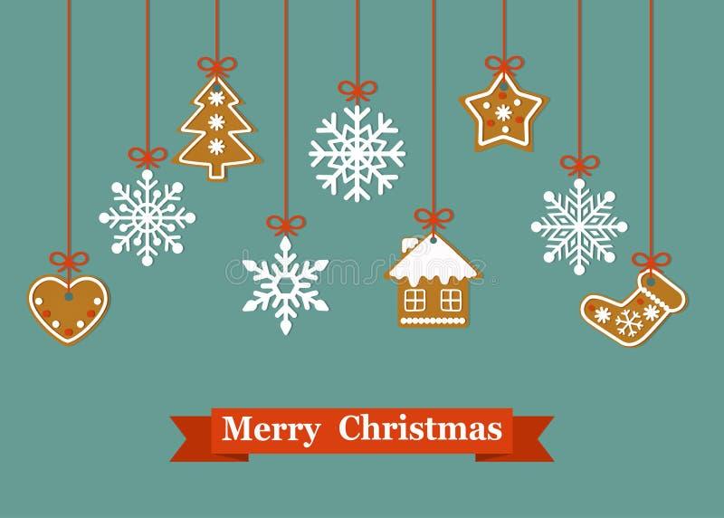 圣诞卡片用垂悬的姜饼曲奇饼和雪花 皇族释放例证