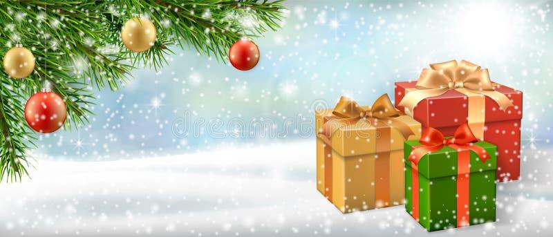 圣诞卡片礼物盒和圣诞树分支 库存例证