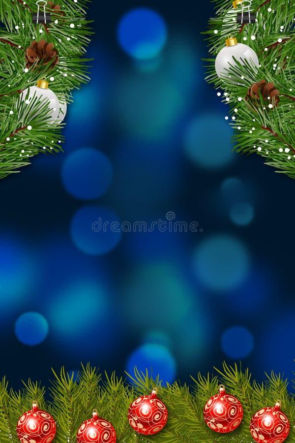 圣诞卡片背景渐进性蓝色红色花和灯装饰品 向量例证