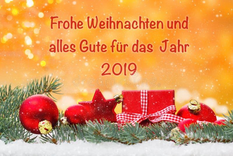 圣诞卡片,圣诞快乐和所有好在2019年 库存照片
