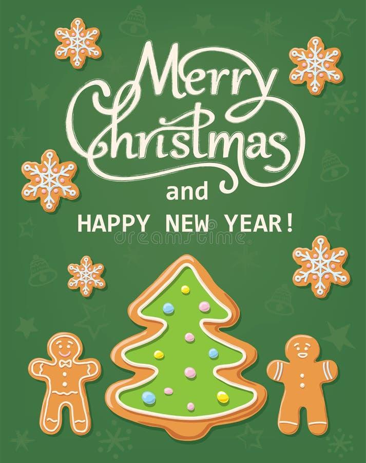 圣诞卡用姜饼 向量例证
