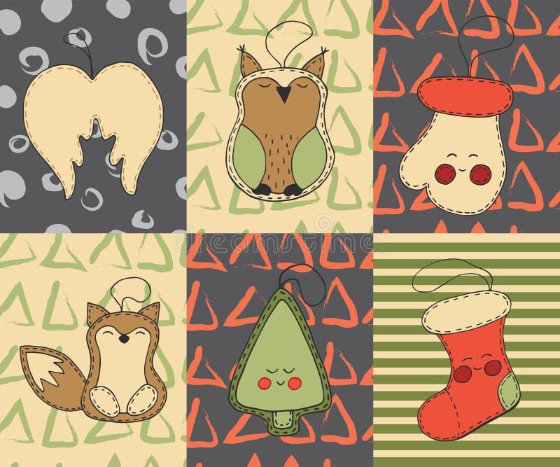 圣诞卡设置了与逗人喜爱的动画片xmas玩具,天使翼,猫头鹰,手套,狐狸,树,圣诞节长袜 皇族释放例证