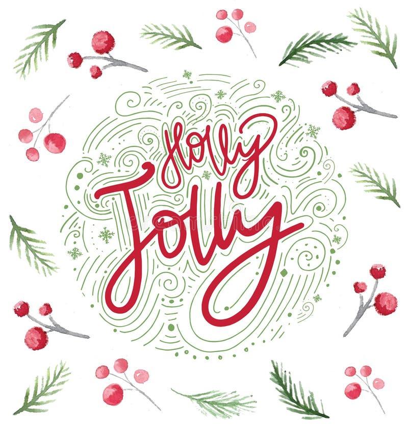 圣诞卡设计用霍莉莓果和分支 问候的欢乐水彩新年装饰品 皇族释放例证