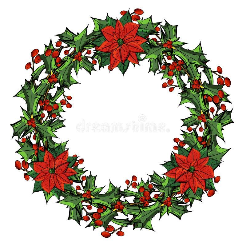 圣诞卡,与红色花圈的一副横幅开花一品红,霍莉离开 库存例证