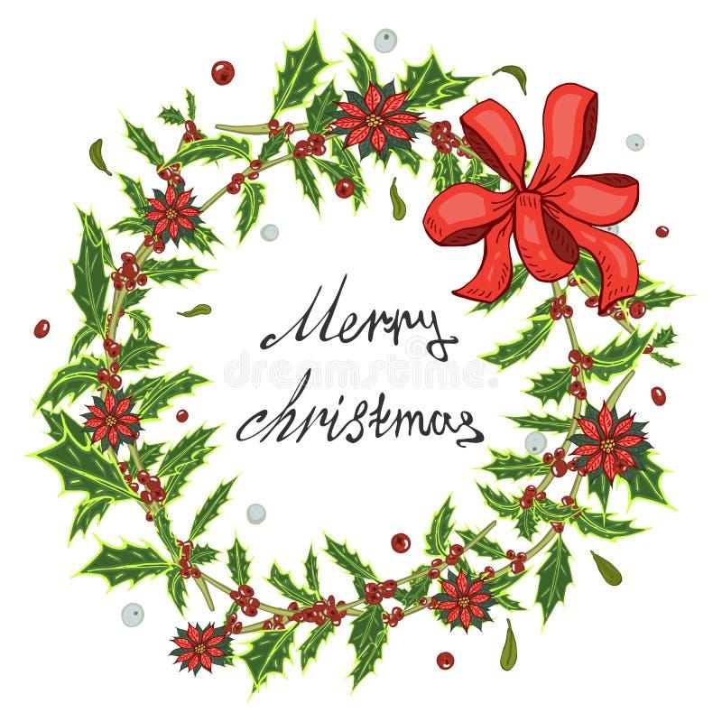 圣诞卡,与红色花圈的一副横幅开花一品红,霍莉离开 皇族释放例证