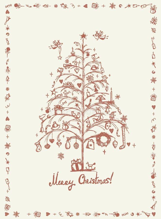 圣诞卡,您的设计的略图 向量例证