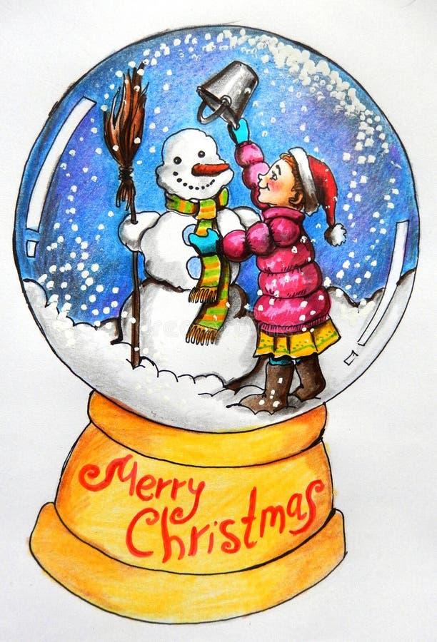 圣诞卡:女孩和雪人 库存例证