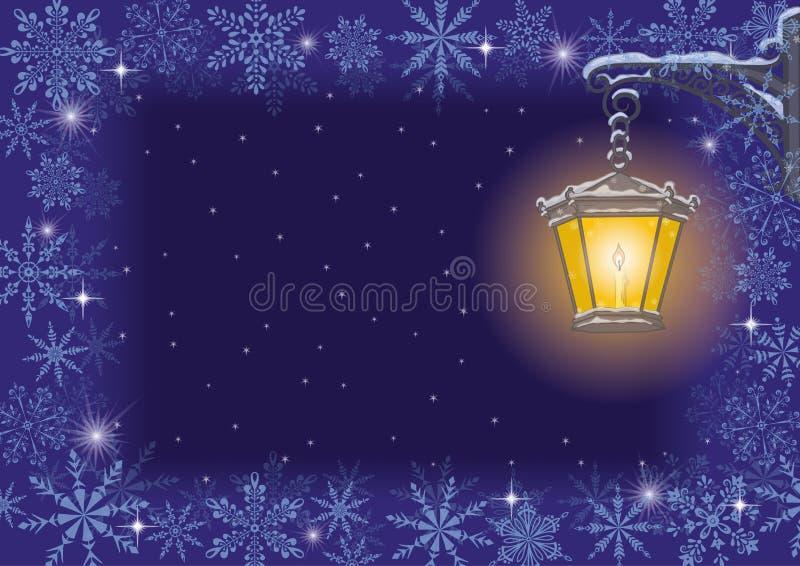 圣诞卡: 葡萄酒闪亮指示和雪花 向量例证