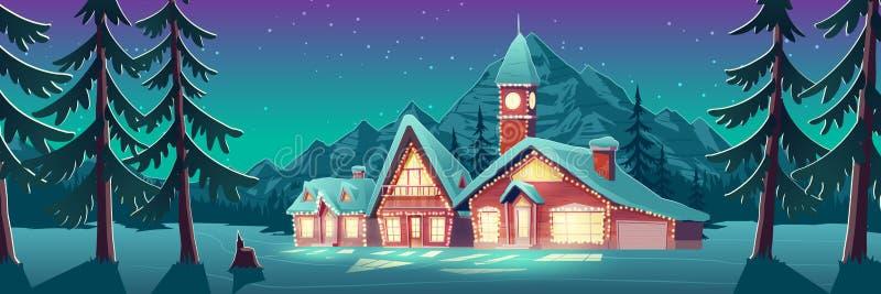 圣诞夜在山城或加拿大,xmas 向量例证