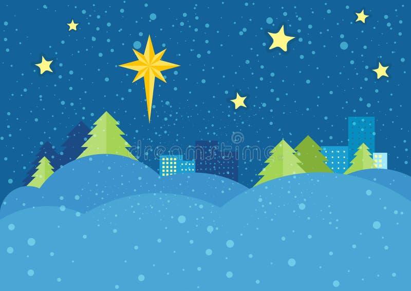 圣诞夜在平的设计的传染媒介概念 库存例证