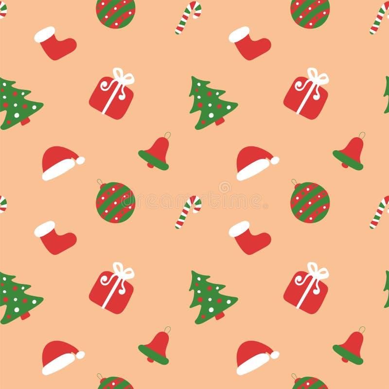 圣诞小孩模式 冬假壁纸 无缝的新年纹理 圣诞老人的靴子和帽子 圣诞树,包, 库存例证