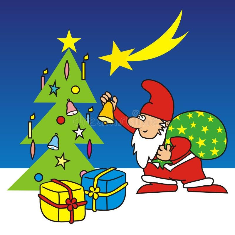 圣诞快乐、圣诞老人项目和圣诞树与礼物,传染媒介例证 库存例证