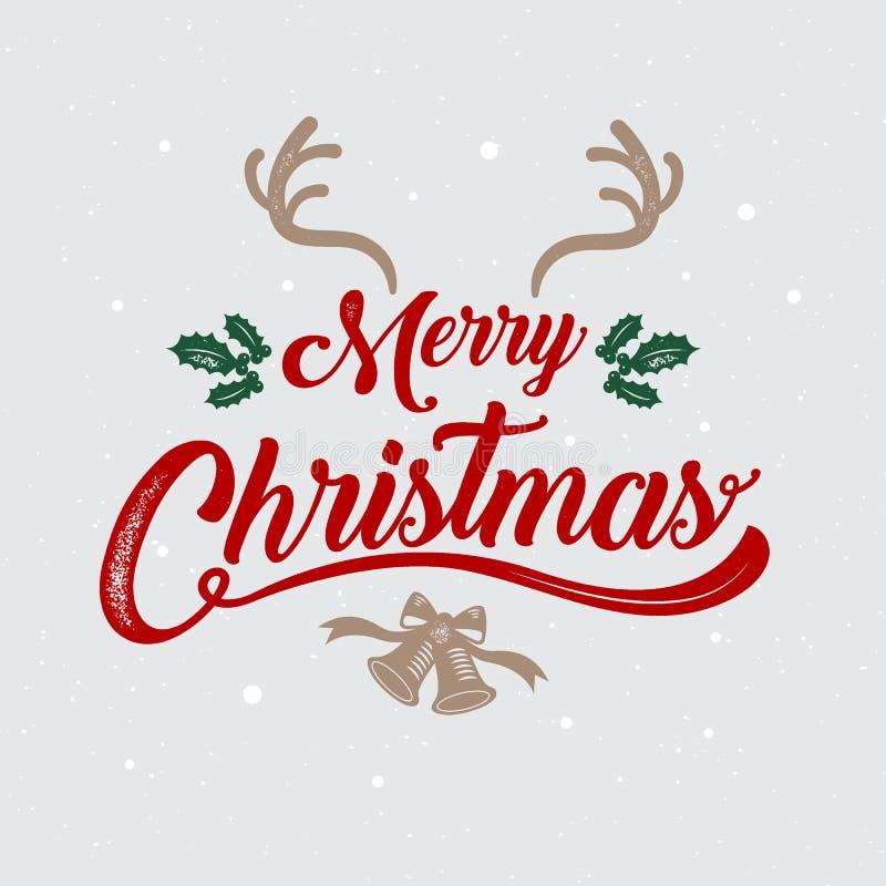 圣诞快乐、新年好、商标&标志设计,传染媒介il 库存例证