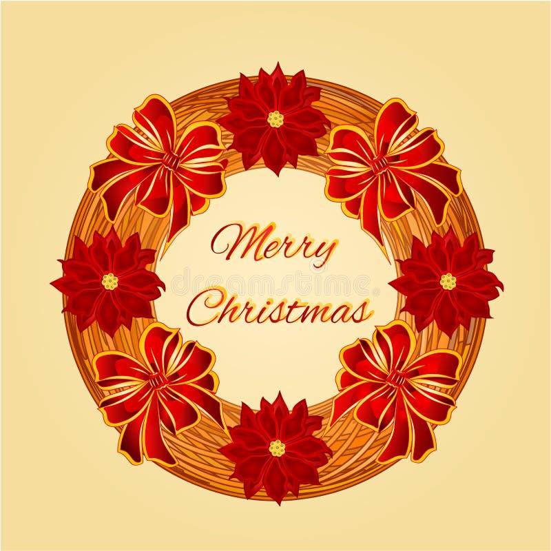圣诞快乐与一品红传染媒介的秸杆花圈 向量例证