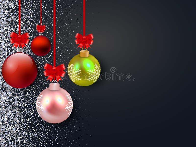 圣诞快乐与光滑的球的传染媒介背景 银色闪烁 向量例证