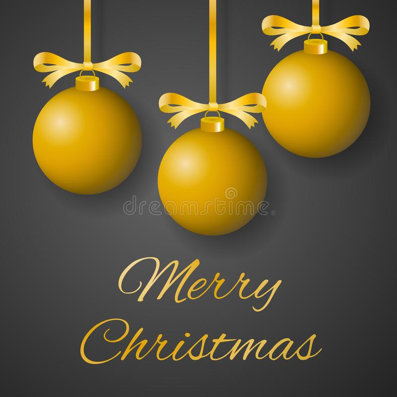 圣诞快乐与垂悬在灰色背景的装饰的丝带的奢侈金黄电灯泡的贺卡传染媒介 库存例证