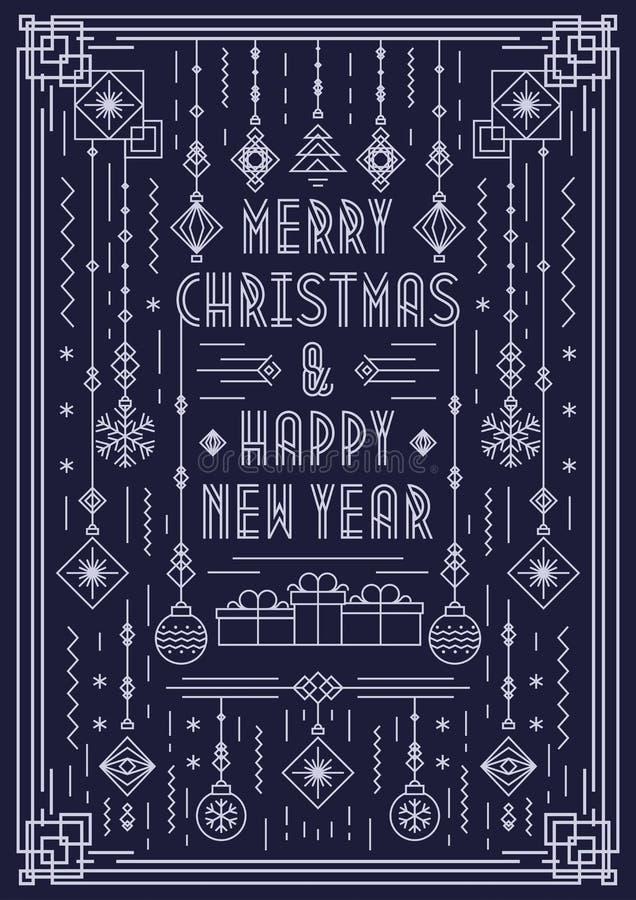 圣诞快乐与新年玩具艺术装饰线型白色颜色的贺卡 库存例证