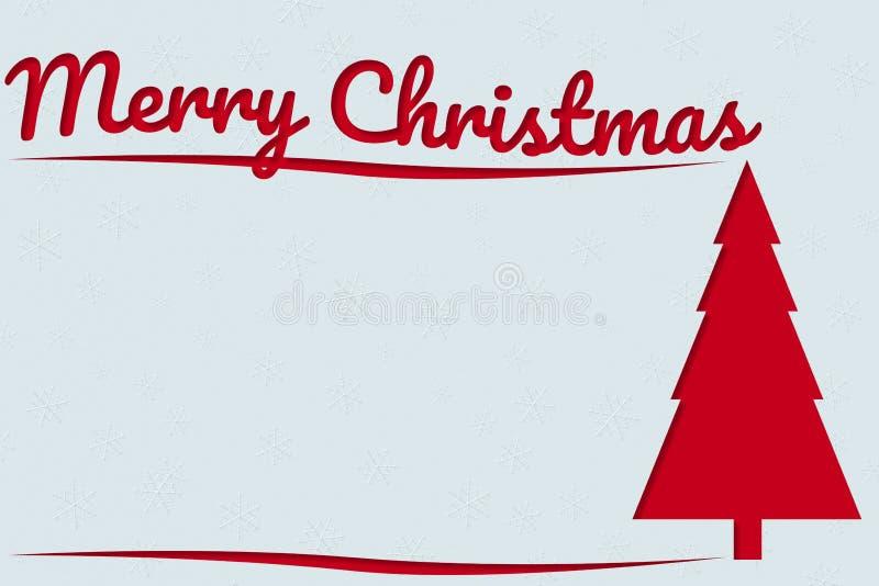 圣诞快乐与红色文本和Xmas杉树a的贺卡 免版税库存照片