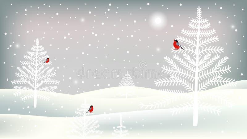 圣诞快乐与逗人喜爱的字符的贺卡 与红腹灰雀、树、风景和降雪的背景 库存例证