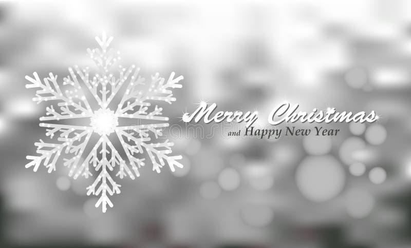 圣诞快乐与雪花的银背景 皇族释放例证