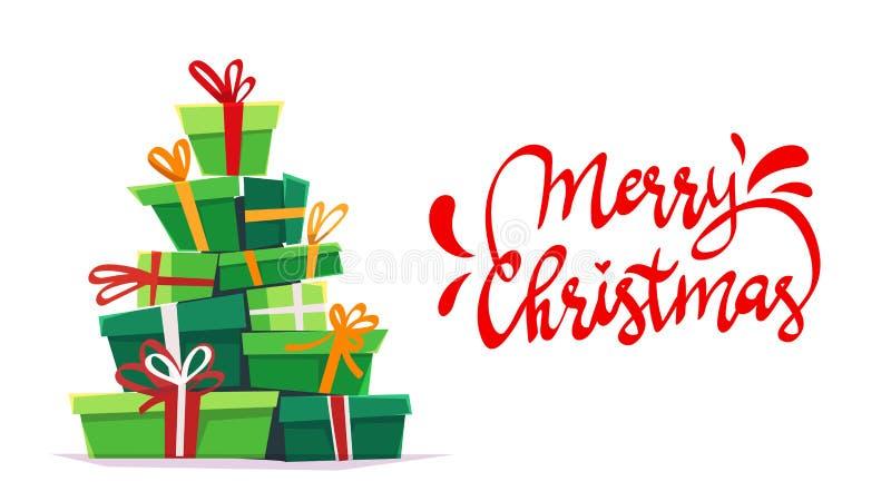 圣诞快乐与callygraphy字法和动画片样式的海报卡片许多礼物堆,在箱子礼物的丝带弓 滑稽的部分 向量例证