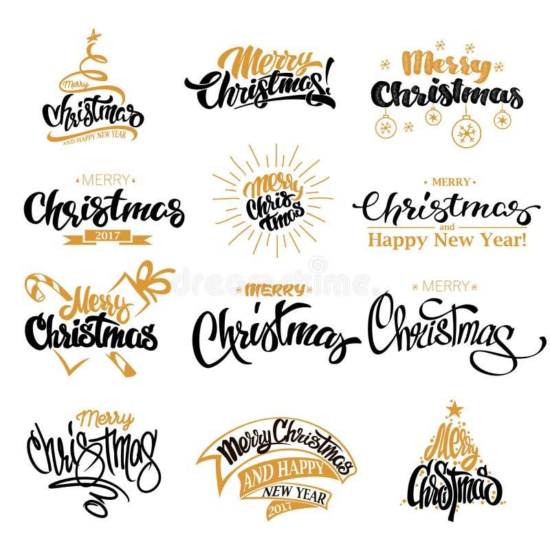 圣诞快乐书信设计集合 库存例证