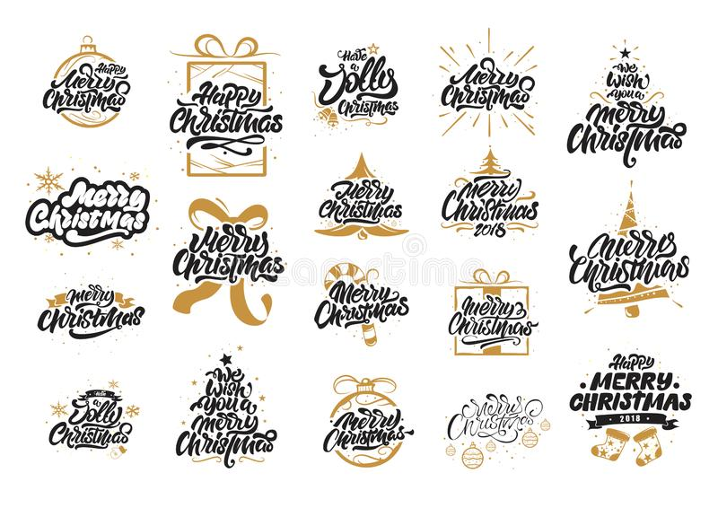 圣诞快乐书信设计 新年快乐印刷术 在明信片、海报、礼物和T恤杉的商标上写字 E 向量例证