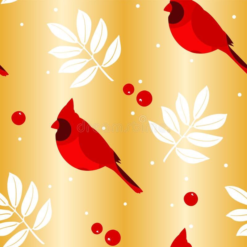 圣诞快乐仿造与叶子、红色主教和莓果在金黄背景 向量 皇族释放例证