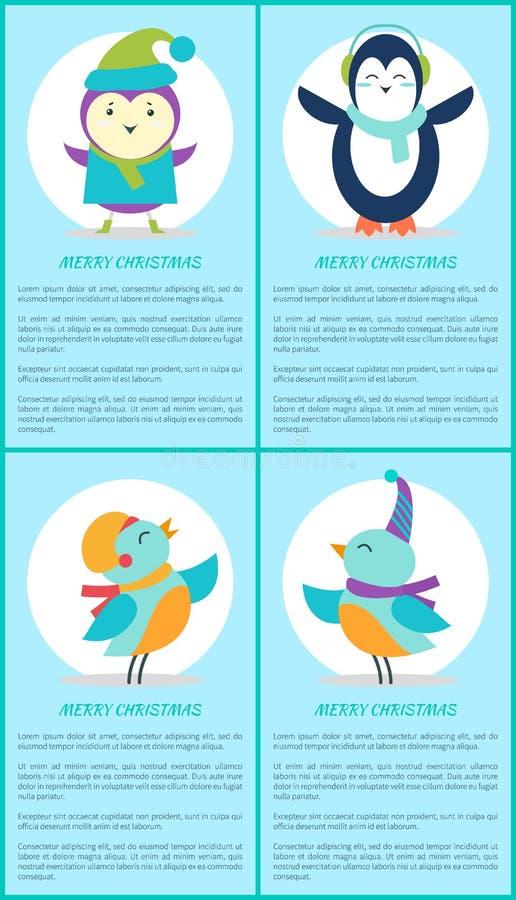 圣诞快乐企鹅鸟歌手动画片海报 皇族释放例证