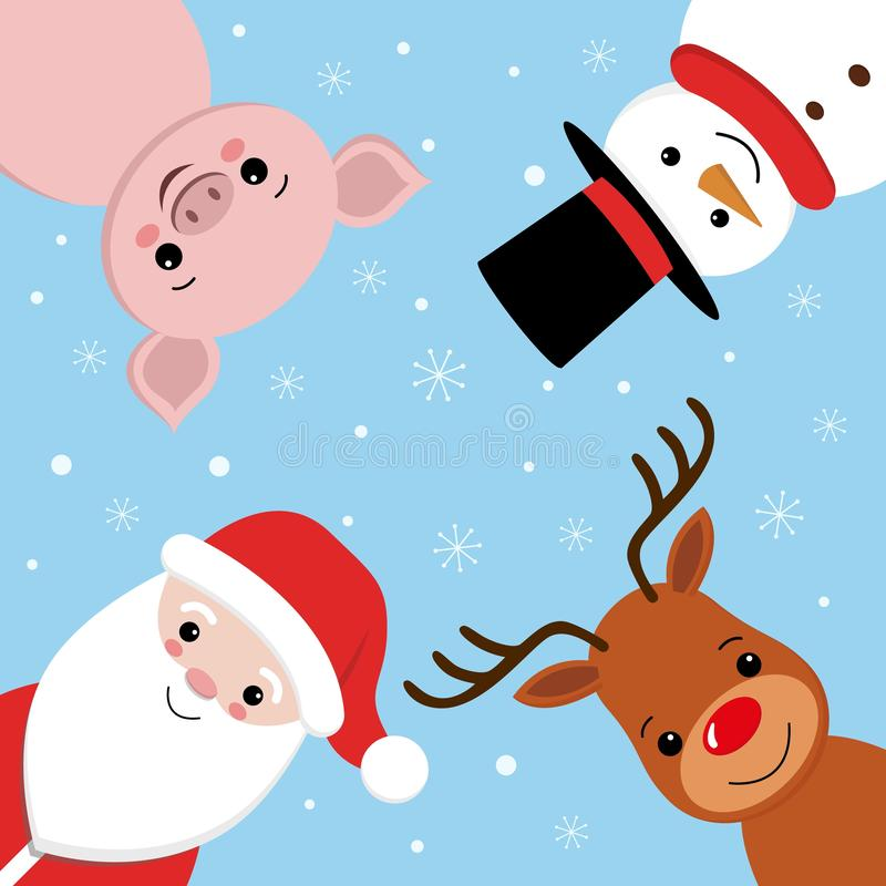 圣诞快乐传单设计 与鹿、猪、雪人和圣诞老人项目卡通人物的创造性的字法  库存例证