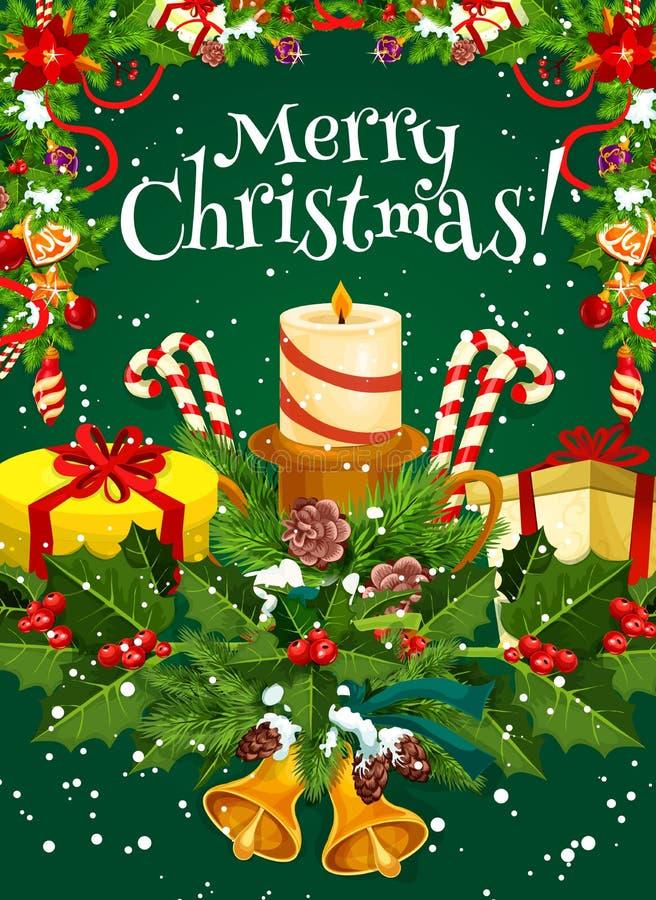 圣诞快乐传染媒介假日愿望贺卡 库存例证