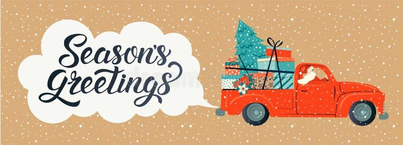 圣诞快乐传统化了印刷术 有圣诞老人项目、圣诞树和礼物盒的葡萄酒红色汽车 传染媒介平的样式 库存例证