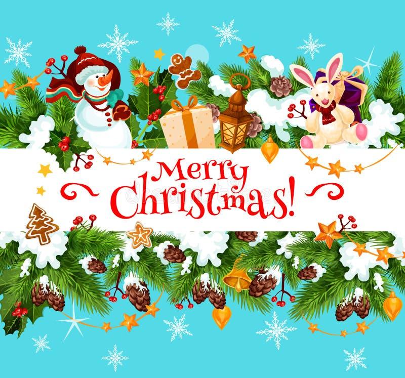圣诞快乐假日传染媒介贺卡 库存例证
