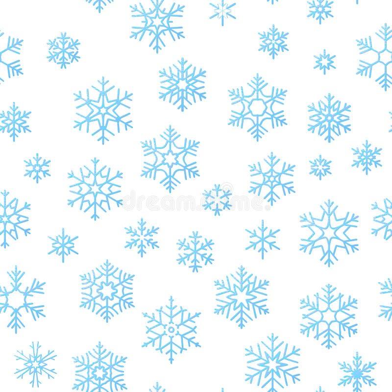 圣诞快乐假日装饰作用背景 蓝色雪花无缝的样式模板 10 eps 向量例证