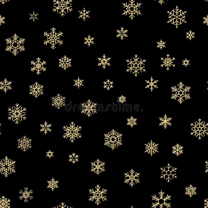 圣诞快乐假日装饰作用 金黄雪花无缝的样式 10 eps 向量例证